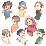 3girls 5boys blonde_hair blue_eyes blue_hair blue_helmet brown_hair collared_shirt cropped_arms cropped_torso digimon digimon_adventure from_behind glasses green_headwear hat helmet highres ishida_yamato izumi_koushirou kido_jou long_hair long_sleeves multiple_boys multiple_girls one_eye_closed pink_headwear profile red_eyes ryota_(ry_o_ta) shirt short_hair short_sleeves signature sleeveless tachikawa_mimi takaishi_takeru takenouchi_sora vest wind yagami_hikari yagami_taichi