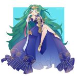 1girl absurdres artist_name barefoot braid closed_mouth crossed_legs dress fire_emblem fire_emblem:_three_houses green_eyes green_hair highres inkanii long_hair pointy_ears ribbon_braid simple_background solo sothis_(fire_emblem) tiara twin_braids