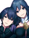 1boy 1girl angry armor blue_eyes blue_hair brother_and_sister byleth_(fire_emblem) byleth_(fire_emblem)_(female) byleth_(fire_emblem)_(male) byleth_eisner_(female) byleth_eisner_(male) closed_mouth cute female_my_unit_(fire_emblem:_fuukasetsugetsu) fire_emblem fire_emblem:_fuukasetsugetsu fire_emblem:_three_houses fire_emblem_16 happy hot_dog_fe intelligent_systems male_my_unit_(fire_emblem:_fuukasetsugetsu) my_unit_(fire_emblem:_fuukasetsugetsu) nintendo short_hair siblings simple_background smile upper_body white_background