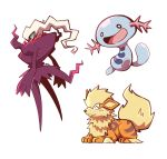 :d ^_^ arcanine artsy-rc closed_eyes closed_mouth commentary darkrai english_commentary gen_1_pokemon gen_2_pokemon gen_4_pokemon highres legendary_pokemon no_humans open_mouth pokemon pokemon_(creature) signature simple_background smile white_background wooper