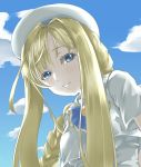 1girl alicia_florence aria bangs blonde_hair blue_eyes blue_sky braided_ponytail closed_mouth clouds hair_between_eyes highres kamehito long_hair looking_at_viewer shiny shiny_hair sky smile solo upper_body very_long_hair