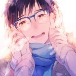 2boys :d black_hair blue-framed_eyewear blue_scarf blush brown_eyes glasses hands_on_another's_cheeks hands_on_another's_face jewelry katsuki_yuuri kuroemon male_focus multiple_boys open_mouth pov reflection ring scarf smile solo_focus viktor_nikiforov yaoi yuri!!!_on_ice