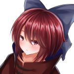 1girl blue_bow bow cape dutch_angle eyebrows_visible_through_hair frown hair_between_eyes hair_bow light_blush looking_at_viewer red_cape red_eyes redhead sekibanki shiny shiny_hair shiranui_(wasuresateraito) short_hair simple_background solo touhou upper_body white_background