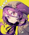 1girl :o animal_hood background_text bangs grey_hoodie hair_between_eyes hare_(yamihuji) hood hoodie long_hair looking_at_viewer multicolored multicolored_eyes no_game_no_life open_mouth pom_pom_(clothes) portrait purple_hair ringed_eyes shuvi_(no_game_no_life) simple_background solo translated violet_eyes yellow_background