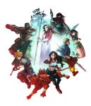 3girls 6+boys absurdres aerith_gainsborough arm_cannon barret_wallace black_hair blonde_hair brown_hair buster_sword cait_sith cid_highwind cloud_strife cropped_jacket dark_skin dark_skinned_male everyone final_fantasy final_fantasy_vii final_fantasy_vii_remake highres jacket megaphone multiple_boys multiple_girls open_fly polearm red_xiii shuriken simple_background sleeveless spear staff sword tifa_lockhart torn_clothes torn_sleeves vincent_valentine voodoothur weapon yuffie_kisaragi
