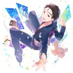 1boy black_hair blue_flower blue_rose brown_eyes confetti flower food hair_slicked_back ice_skates katsuki_yuuri kuroemon male_focus onigiri outstretched_hand rose sashimi skates smile stuffed_animal stuffed_dog stuffed_toy yuri!!!_on_ice