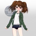 1girl artist_name blush brown_eyes brown_hair character_name checkered checkered_background cowboy_shot flat_chest gradient gradient_background green_jacket grey_background inaba_shiki jacket kantai_collection long_hair looking_at_viewer nose_blush open_mouth ryuujou_(kantai_collection) school_swimsuit shirt solo standing swimsuit swimsuit_under_clothes twintails white_shirt