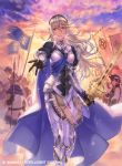 1girl armor black_gloves black_hairband blue_cape cape clouds company_name copyright_name corrin_(fire_emblem) corrin_(fire_emblem)_(female) fgo_ave fire_emblem fire_emblem_cipher fire_emblem_fates gloves hairband helmet holding holding_sword holding_weapon long_hair official_art outdoors parted_lips pointy_ears polearm red_eyes shield short_hair sky solo_focus sword weapon white_hair