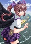 1girl bird_wings black_wings blouse brown_hair cellphone checkered checkered_skirt clouds commentary_request feathered_wings flip_phone fuuzasa hair_ribbon hat highres himekaidou_hatate holding holding_phone looking_at_viewer mountain phone pointy_ears pouch puffy_short_sleeves puffy_sleeves purple_headwear purple_skirt ribbon river short_sleeves skirt sky smile solo thigh-highs tokin_hat touhou twintails v violet_eyes white_blouse wings zettai_ryouiki