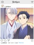 2boys black_hair blue_eyes brown_eyes english_text eyes_visible_through_hair fake_screenshot hair_slicked_back hand_on_another's_shoulder instagram japanese_clothes katsuki_yuuri kimono kuroemon makkachin male_focus multiple_boys silver_hair smile upper_body viktor_nikiforov yuri!!!_on_ice
