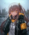 1girl armband bangs black_gloves black_jacket black_neckwear black_ribbon blush breasts brown_hair building buttons commentary crossed_bangs day eyebrows_visible_through_hair finger_to_mouth fingerless_gloves girls_frontline gloves grey_sky happy_tears highres hood hood_down hooded_jacket jacket lithium10mg long_hair neck_ribbon one_side_up open_clothes open_jacket outdoors rain ribbon river scar scar_across_eye shirt small_breasts smile snow solo tearing_up tears ump45_(girls_frontline) upper_body white_shirt yellow_eyes