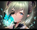 1girl apple blue_eyes bug butterfly close-up eyelashes eyepatch face food fruit green_hair green_neckwear hair_between_eyes honey_strap horns insect letterboxed light_particles looking_at_viewer necktie parted_lips portrait sekishiro_mico short_hair solo virtual_youtuber yuyutan0904