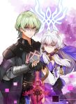 1boy 1girl absurdres byleth_(fire_emblem) byleth_(fire_emblem)_(male) cloak dress emblem fire_emblem fire_emblem:_three_houses glowing glowing_weapon green_eyes green_hair hand_on_another's_hand highres huge_filesize long_hair looking_at_viewer lysithea_von_ordelia oroshipon_zu red_eyes serious shaded_face silver_hair sword sword_of_the_creator veil weapon