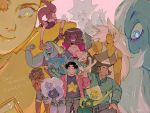2boys 6+girls amethyst_(steven_universe) beard bismuth_(steven_universe) black_hair blue_diamond_(steven_universe) blue_hair blue_skin broken_horn chest_jewel connie_maheswaran dark_skin everyone facial_hair forehead_jewel garnet_(steven_universe) giantess green_skin greg_universe horns jacket jasper_(steven_universe) lapis_lazuli_(steven_universe) multiple_boys multiple_girls open_mouth pale_skin pearl_(steven_universe) peridot_(steven_universe) pink_hair purple_hair sakakikaga short_shorts shorts smile spinel_(steven_universe) star steven_quartz_universe steven_universe sunglasses third_eye translation_request waving white_diamond_(steven_universe) yellow_diamond_(steven_universe) yellow_skin