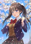 1girl :o artist_name bangs blue_bag blue_eyes blue_jacket blush breasts brown_hair brown_skirt cherry_blossoms commentary_request day eyebrows_visible_through_hair highres jacket long_hair long_sleeves looking_at_viewer medium_breasts open_mouth original outdoors saya_(mychristian2) school_uniform skirt solo spring_(season) twintails uniform