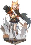1girl :d ^_^ ahoge animal_ears arknights bandages bangs black_cape black_footwear black_headwear black_skirt blonde_hair braid bunny_tail cape closed_eyes crescent crescent_print cross full_body geya_(yoomario) grey_legwear hat head_tilt holding jack-o'-lantern kroos_(arknights) miniskirt navel official_art open_mouth orange_shirt pantyhose rabbit_ears sarashi shirt shoes short_hair skirt smile sneakers solo standing standing_on_one_leg star star_print striped tail top_hat transparent_background vertical-striped_skirt vertical_stripes wrist_wrap
