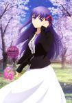 1girl absurdres artist_request dress fate/stay_night fate_(series) flower hair_ribbon heaven's_feel highres holding holding_flower long_hair matou_sakura petals pink_flower purple_hair red_ribbon ribbon skirt solo type-moon ufotable violet_eyes