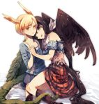 2girls :d atoki bandana bangs bare_shoulders black_hair black_wings blonde_hair blue_shirt boots brown_footwear brown_skirt commentary_request dragon_horns dragon_tail eyebrows_visible_through_hair feathered_wings highres horns kicchou_yachie knee_boots kurokoma_saki long_sleeves multiple_girls off-shoulder_shirt off_shoulder open_mouth parted_lips plaid plaid_skirt shirt short_hair short_sleeves simple_background skirt smile tail thighs touhou white_background wings yellow_eyes yuri