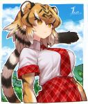 1girl absurdres animal_ear_fluff animal_ears animal_print bangs black_hair blonde_hair blue_sky breasts clouds day elbow_gloves expressionless extra_ears eyebrows_visible_through_hair gloves hair_between_eyes highres kemono_friends large_breasts looking_away medium_hair multicolored_hair necktie notora outdoors outline plaid plaid_neckwear plaid_skirt plaid_trim plant print_gloves shirt short_sleeves skirt sky solo striped_tail tail tiger_(kemono_friends) tiger_ears tiger_girl tiger_print tiger_tail white_hair white_outline white_shirt wing_collar yellow_eyes