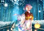 1girl alternate_costume ark_royal_(kantai_collection) bamboo bamboo_forest blue_eyes blush bob_cut carnelian eyebrows_visible_through_hair floral_print flower forest hair_flower hair_ornament hairband holding_lantern japanese_clothes kantai_collection kimono lantern long_sleeves looking_at_viewer looking_back nature obi outstretched_arms redhead sash short_hair smile snow solo wide_sleeves