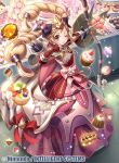 1girl arrow black_bow blonde_hair bow bow_(weapon) cake closed_mouth company_name copyright_name cupcake doughnut dress elise_(fire_emblem) fire_emblem fire_emblem_cipher fire_emblem_fates food full_body fumi_(butakotai) hair_bow holding_bow long_hair macaron multicolored_hair official_art one_eye_closed pudding purple_hair quiver smile solo twintails violet_eyes weapon