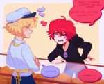 2boys absurdres angry apron artist_name black_hoodie black_sclera blonde_hair blue_pants bread counter crossed_arms english_commentary english_text food frustrated fukase hand_on_hip hat highres hood hoodie looking_at_another male_focus meme multiple_boys oliver_(vocaloid) pants profanity red_eyes redhead sailor_hat shop speech_bubble standing toxic_nugget upper_body v-shaped_eyebrows vocaloid zipper