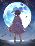 1girl akagashi_hagane animal_ears barefoot brown_hair bunny_tail commentary dress from_behind full_body full_moon inaba_tewi moon night outdoors pink_dress rabbit_ears short_hair short_sleeves sky solo standing star_(sky) starry_sky tail touhou wind wind_lift