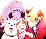 1girl 2boys :d ^_^ alexander_(fma) alphonse_elric animal armor backlighting black_gloves blonde_hair blurry blush braid brown_hair child close-up closed_eyes coat commentary_request depth_of_field dog dot_nose edward_elric face fullmetal_alchemist gloves happy helmet highres ichii_(tkgodantkamatu) looking_at_another multiple_boys nina_tucker open_mouth red_coat sidelocks simple_background single_braid smile tongue tongue_out twin_braids upper_body white_background yellow_eyes