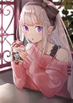 1girl :o absurdres alternate_costume bangs black_bow blunt_bangs blush bow bra_strap casual commentary_request cream cup elf emilia_(re:zero) eyebrows_visible_through_hair food hair_bow highres holding holding_cup huge_filesize ice_cream indoors long_hair long_sleeves looking_at_viewer off_shoulder parted_lips pink_sweater pointy_ears pov_across_table re:zero_kara_hajimeru_isekai_seikatsu red_lips sidelocks silver_hair single_bare_shoulder sleeves_past_wrists solo straight_hair sundae sweater table twitter_username upper_body violet_eyes window yuzouni