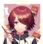 1girl angel arknights bangs blue_shrimp candy commentary exusiai_(arknights) fingerless_gloves food gloves hair_over_one_eye halo hand_up holding holding_candy jacket looking_at_object orange_eyes parted_bangs pocky portrait redhead shiny shiny_hair short_hair smile solo