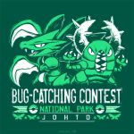 bug bug-catching_contest_(pokemon) butterfly commentary creature english_commentary english_text fangs gen_1_pokemon green_theme horns insect looking_at_viewer monochrome no_humans pinsir place_name pokemon pokemon_(creature) scyther sharp_teeth spikes teeth versiris watermark web_address