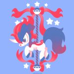 blue_background carousel commentary creature english_commentary from_side full_body gen_5_pokemon horn keldeo no_humans pokemon pokemon_(creature) profile simple_background solo star versiris watermark web_address