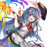 1girl absurdres bangs black_headwear blouse blue_bow blue_dress blue_hair bow dress eyebrows_visible_through_hair fire food fruit hair_between_eyes hands_up hat highres hinanawi_tenshi holding ikazuchi_akira long_hair looking_at_viewer multicolored multicolored_eyes no_headwear open_mouth peach puffy_short_sleeves puffy_sleeves rainbow red_bow red_eyes red_neckwear short_sleeves simple_background smile solo sword touhou weapon white_background white_blouse white_sleeves yellow_eyes