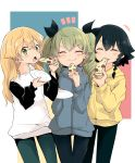 +++ 3girls :t anchovy_(girls_und_panzer) bangs barashiya black_hair black_pants black_ribbon blonde_hair blue_jacket blue_pants braid carpaccio_(girls_und_panzer) casual closed_eyes closed_mouth commentary drill_hair eating eyebrows_visible_through_hair facing_viewer food food_in_mouth girls_und_panzer green_eyes green_hair hair_ribbon highres holding holding_food holding_saucer jacket long_hair long_sleeves looking_at_viewer multicolored multicolored_background multiple_girls notice_lines open_mouth pants pepperoni_(girls_und_panzer) pizza raglan_sleeves ribbon shirt short_hair side-by-side side_braid smile standing twin_drills twintails white_shirt yellow_jacket