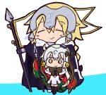 2girls bangs bell black_gloves black_legwear blonde_hair blue_background blue_cape bow cape capelet chibi closed_eyes closed_mouth commentary_request dress elbow_gloves eyebrows_visible_through_hair fate/apocrypha fate/grand_order fate_(series) flag fur-trimmed_cape fur-trimmed_capelet fur_trim gloves green_bow green_ribbon hair_between_eyes hair_bow headpiece holding holding_spear holding_weapon jeanne_d'arc_(fate) jeanne_d'arc_(fate)_(all) jeanne_d'arc_alter_santa_lily kasuga_yuuki long_hair low_ponytail multiple_girls polearm ponytail ribbon silver_hair smile spear standing striped striped_bow striped_ribbon thigh-highs two-tone_background v-shaped_eyebrows very_long_hair weapon white_background white_capelet white_dress