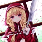 1girl basket blonde_hair braid clouds cloudy_sky commentary_request dress eyebrows_visible_through_hair hair_between_eyes holding little_red_riding_hood little_red_riding_hood_(grimm) long_sleeves looking_at_viewer nanase_nao petals railing red_dress red_eyes red_hood shiny shiny_hair sky solo twin_braids