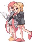 2girls ? bangs black_shorts black_sweater blonde_hair blue_eyes blunt_bangs commentary domino_mask fangs grey_eyes grey_sweater gym_shorts heel_up holding holding_paper hood hood_down hoodie inkling long_hair maco_spl makeup mascara mask medium_hair multiple_girls octarian octoling open_mouth paper pointy_ears sandals short_shorts shorts simple_background sleeves_past_fingers sleeves_past_wrists smile splatoon_(series) standing standing_on_one_leg suction_cups sweater tentacle_hair white_background yellow_tongue