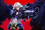 1boy armor astolfo_(fate) black_armor black_cape black_legwear body_armor cape cleavage_cutout commentary_request cosplay digital_dissolve electricity fate/grand_order fate_(series) fauls garter_straps hair_intakes hand_on_own_face highres jamrolypoly licking_lips long_hair magic male_focus miniskirt multicolored_hair navel odysseus_(fate/grand_order) outstretched_arm pauldrons pectorals red_background redhead silver_hair skirt solo thigh-highs tongue tongue_out two-tone_hair yellow_eyes