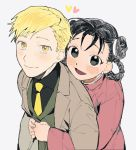1boy 1girl :d alphonse_elric arms_around_waist arms_at_sides black_eyes black_hair black_shirt blonde_hair blush blush_stickers braid brown_coat chinese_clothes closed_mouth coat collared_shirt cu_churain curly_hair double_bun dress_shirt earrings eyelashes formal from_above fullmetal_alchemist green_vest grey_background hair_between_eyes happy heart hug hug_from_behind jewelry long_sleeves looking_at_viewer looking_up may_chang multiple_braids necktie open_mouth pink_shirt shirt simple_background smile upper_body vest yellow_eyes yellow_neckwear