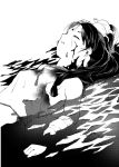 1girl blood blood_on_face breasts closed_eyes cuts greyscale headgear injury kantai_collection long_hair monochrome nisshin_(kantai_collection) partially_submerged sideboob small_breasts solo tooku_nomura_(artist) torn_clothes upper_body