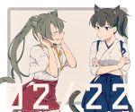 2girls animal_ears brown_hair cat_ears cat_girl cat_tail hair_ribbon hakama_skirt japanese_clothes kaga_(kantai_collection) kantai_collection kouga_(mutsumi) long_hair multiple_girls ribbon side_ponytail tail twintails zuikaku_(kantai_collection)