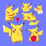 =_= ? artsy-rc blue_background circle_game commentary english_commentary gen_1_pokemon highres holding holding_sign no_humans pikachu pokemon pokemon_(creature) red_apple sign simple_background sleeping v
