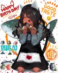 1girl animal_ears black_hair black_nails blood blood_on_face blood_splatter cat_ears cat_girl cat_tail chito_(natsume-same) closed_eyes commentary dark_skin dated eating english_text fangs fish floral_print food frilled_sleeves frills full_body hair_over_one_eye hands_up happy happy_birthday holding holding_fish holding_food long_hair long_sleeves napkin natsume-same open_mouth original petals seiza sitting skirt smile solo_focus sticker suspender_skirt suspenders tail translated |d