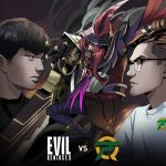 2boys 2girls bang_(gamer) cannon english_commentary evil_geniuses_(team) feathers flyquest highres jersey knife league_of_legends logo multiple_boys multiple_girls official_art real_life sade senna_(league_of_legends) throwing_knife weapon wildturtle xayah
