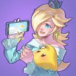 1girl aqua_dress blonde_hair cellphone chiko_(mario) crown dress earrings hair_over_one_eye jewelry mario_(series) open_mouth phone pockypalooza purple_background reading rosalina simple_background smartphone smile star super_smash_bros. wand