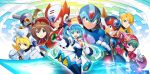 4boys 5girls alia_(rockman) ammunition axl cannon cinnamon gun hat helmet highres iris_(rockman_x) marino multiple_boys multiple_girls navigator nurse_cap official_art rico_(rockman) rockman rockman_x rockman_x_command_mission rockman_x_dive side_ponytail smile vava weapon x_(rockman) zero_(rockman)