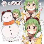 ? black_scarf blush closed_eyes coat commentary facing_viewer fur-trimmed_coat fur_trim goggles goggles_on_head green_eyes green_hair gumi heart highres looking_at_hand multiple_views pachio_(patioglass) red_goggles scarf short_hair_with_long_locks snowing snowman speech_bubble spoken_question_mark translated vocaloid waving yellow_coat