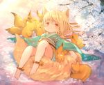 1girl animal_ears ankle_bell anklet barefoot blonde_hair cherry_blossom_print cherry_blossoms commentary_request expressionless floating_hair floral_print fox fox_ears fox_girl furisode gradient gradient_background green_kimono highres japanese_clothes jewelry kimono kitsune knee_up looking_at_viewer lying medium_hair obi on_back orange_eyes original reclining sash sitting_on_tail solo tail tail_hold tree_branch umika35