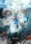 1girl absurdres air_bubble animal_ears arknights bangs black_legwear blurry blurry_background bubble closed_eyes coat commentary_request depth_of_field fish floating floating_hair frostnova_(arknights) hair_between_eyes hair_ornament hairclip highres hzw3 ice koi long_hair no_shoes rabbit_ears signature smile solo torn_clothes torn_coat torn_sleeves underwater white_coat