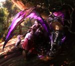 1boy absurdres bag bird book closed_mouth commentary_request crystal dragon emet-selch final_fantasy final_fantasy_xiv forest fur_trim gloves highres huge_filesize jewelry long_sleeves male_focus mega5155214x multicolored_hair nature open_book outdoors ruins shoebill short_hair single_earring sitting solo third_eye tree two-tone_hair white_gloves yellow_eyes